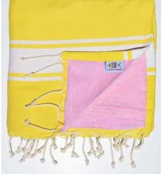 Telo mare piatta di spugna giallo e rosa chiaro