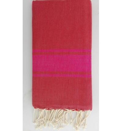 Fouta rosso cardinale con strisce rosa