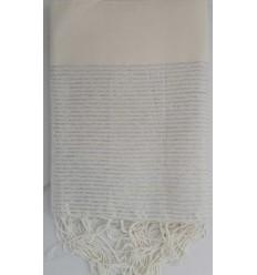 Fouta Lurex bianco floreale