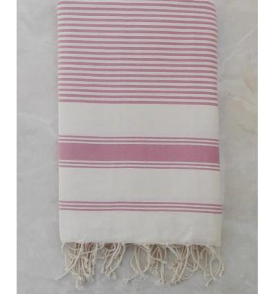 Grande fouta beige chiaro con strisce rosa