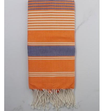fouta dina arancione righe grigio e bianco