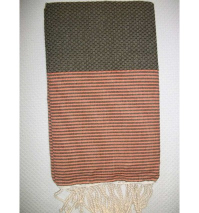Fouta marrone righe corallo