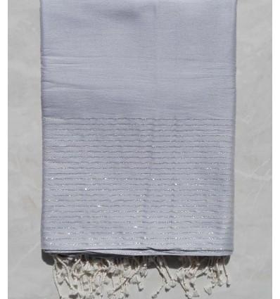 Grande fouta argento con filo lurex