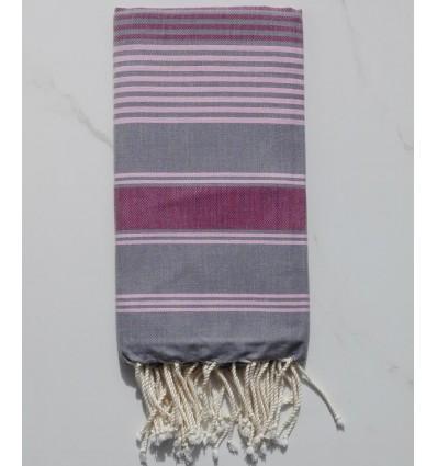 Fouta dina grigio con strisce rose e bordeaux