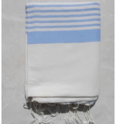 Grande fouta bianco crema con strisce blu dodger