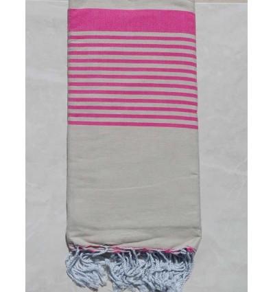 Grande fouta beige con strisce rosa