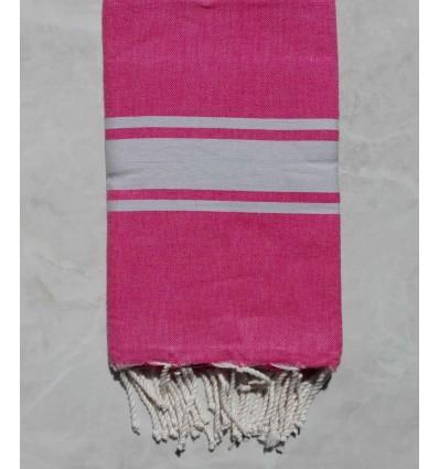 Fouta rosa con strisce grigio chiaro