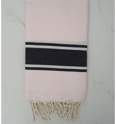 Fouta rosa chiaro con strisce grigio anthracite