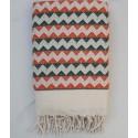 Fouta zigzag bianco crema, arancione e verde