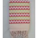 Fouta zigzag bianco crema, rosa e verde chiaro