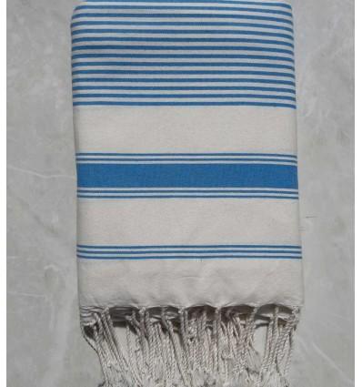Grande fouta bianco crema con strisce azzurro