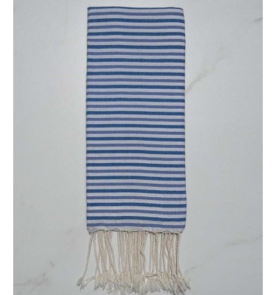 Fouta ziwane blu, blu carrello e bianco