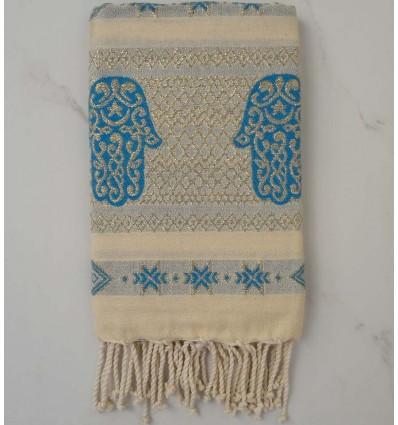 Fouta khomsa azzuro con filo lurex oro
