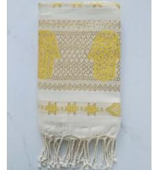 Fouta khomsa giallo con filo lurex
