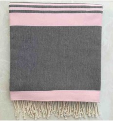 Grande fouta grigio con strisce rosa