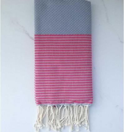 Fouta grigio chiaro righe rosa