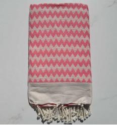 Fouta zigzag rosa e bianco crema