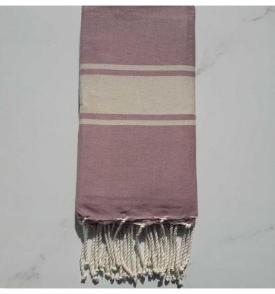 Telo mare rosa violaceo strisce ecru