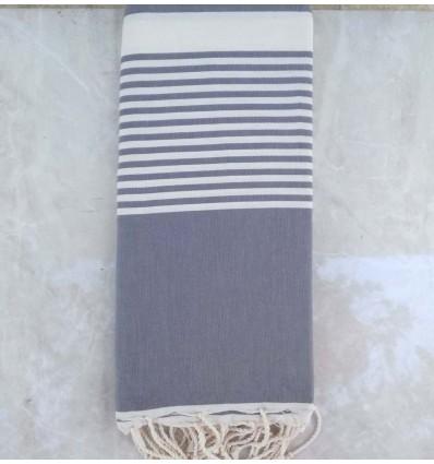 Grande fouta grigio blu con strisce bianche