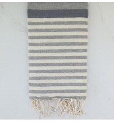 Fouta ziwane blu arizzonte, grigio e bianco