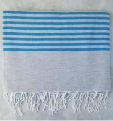 fouta medio blu con strisce