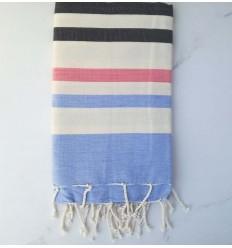 Fouta blu, grigio antracite, bianco crema e rosa