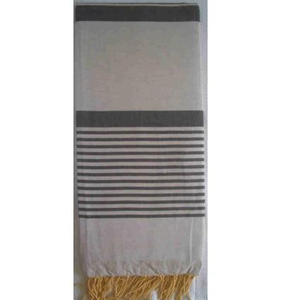 grande fouta grigio chiaro con strisce anthracite