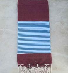 grande fouta rosso bordeaux con strisce blu