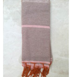 grande fouta taupe e rosa con lurex