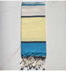 mini fouta blu, blu scuro, Giallo e bianco sporco