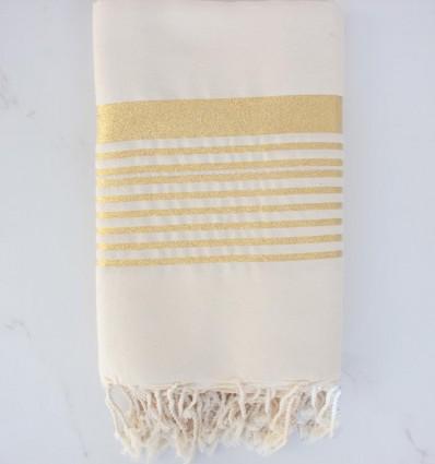 Grande fouta bianco sporco con lurex oro