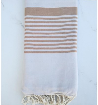 Grande fouta grigio perla a strisce beige 1.5m/2.5m