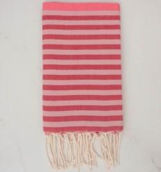 Fouta rosa, rosso e rosa pallido