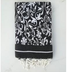 Fouta fiore grigio bianco e nero