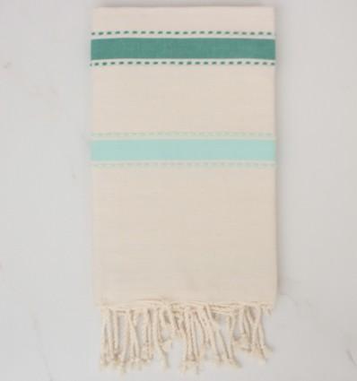 Fouta arabesco bianco crema, verde e turchese