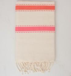 Fouta arabesco crema bianca, arancio corallo e rosa