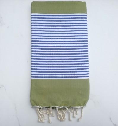 Telo mare piatta verde oliva a strisce blu e bianco