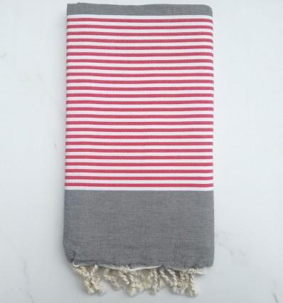 Telo mare piatta grigio a strisce bianco e rosso