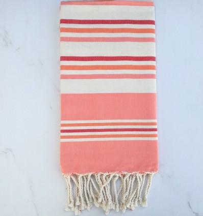 Telo mare piatta bianco crema, rosa chiaro, rosso e arancione