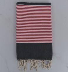 Fouta piatta grigio scuro a strisce rosso inglese e bianco