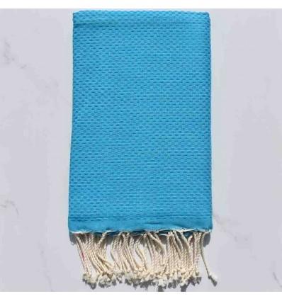 Fouta nido d'ape unito blu celeste