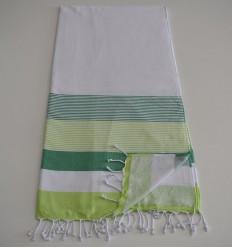 Fouta spugna bianca, verde e verde anice