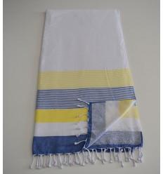 Fouta spugna bianca, gialla e blu