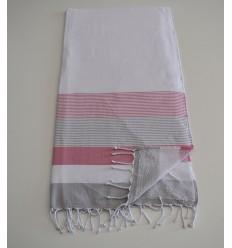 Fouta spugna bianca, rosa e grigia