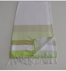 Fouta spugna bianca, verde chiaro e kaki chiaro