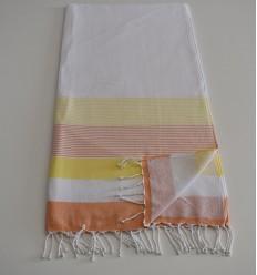 Fouta spugna bianca, gialla e arancione