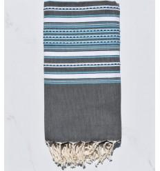 Fouta arabesco grigio con strisce azzurre