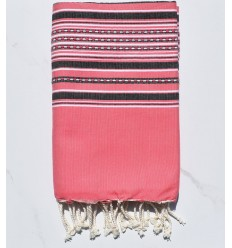 Fouta arabesco rosa fragola con strisce antracite