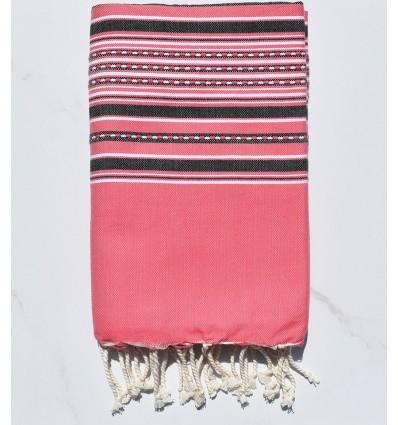 Fouta arabesco rosa fragola con strisce antracite