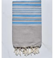 Fouta arabesco taupe chiaro con strisce blu